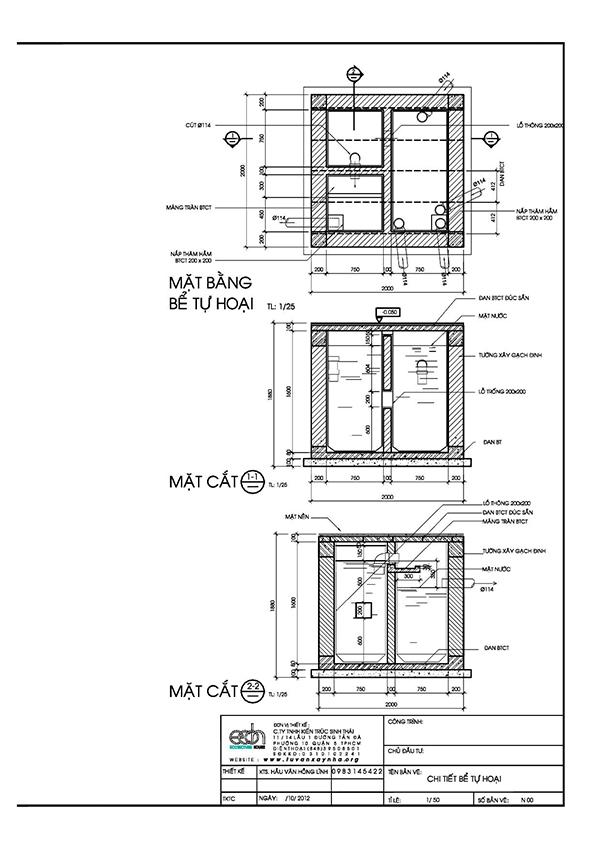Bản vẽ thiết kế nhà vệ sinh tự hoại