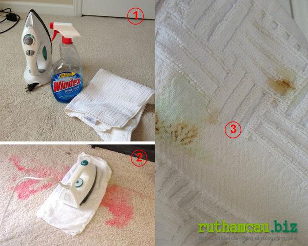 Cách vệ sinh thảm trải sàn tại nhà bằng nước lau kính và bàn là